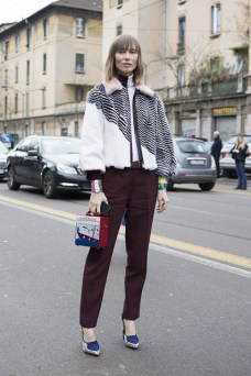 Anya Ziourova in Prada and Fendi with an Olympia Le Tan bag